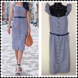 GAL MEETS GLAM Dress Blue Gingham Check Sz 18